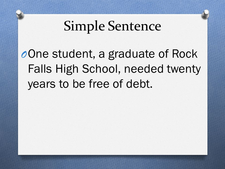 Simple Sentence One student, a graduate of Rock Falls High School, needed twenty years to be free of debt.