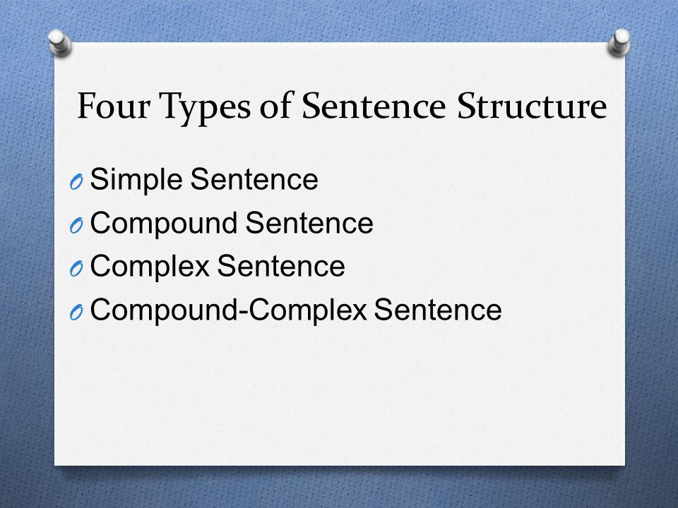 Four Types of Sentence Structure