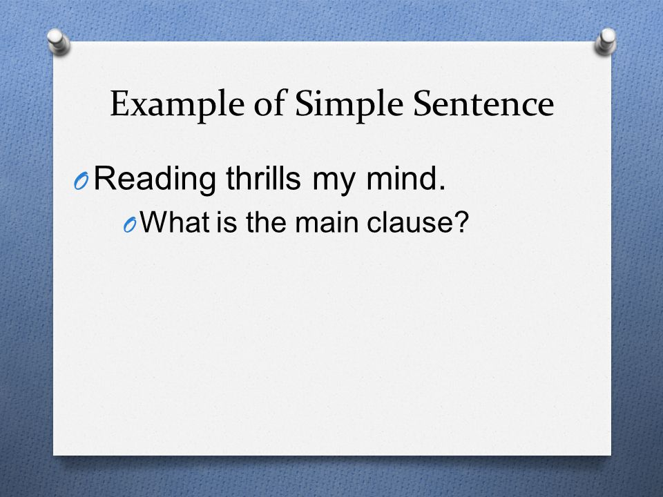 Example of Simple Sentence