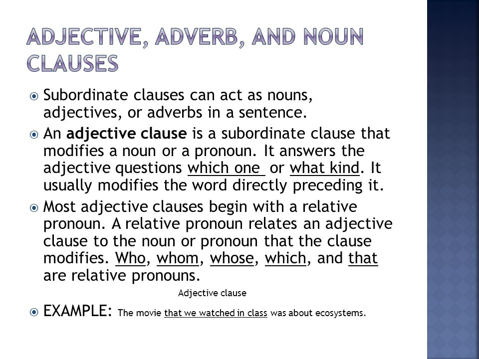Adjective Noun And Adverb Clauses Worksheet Difference Between