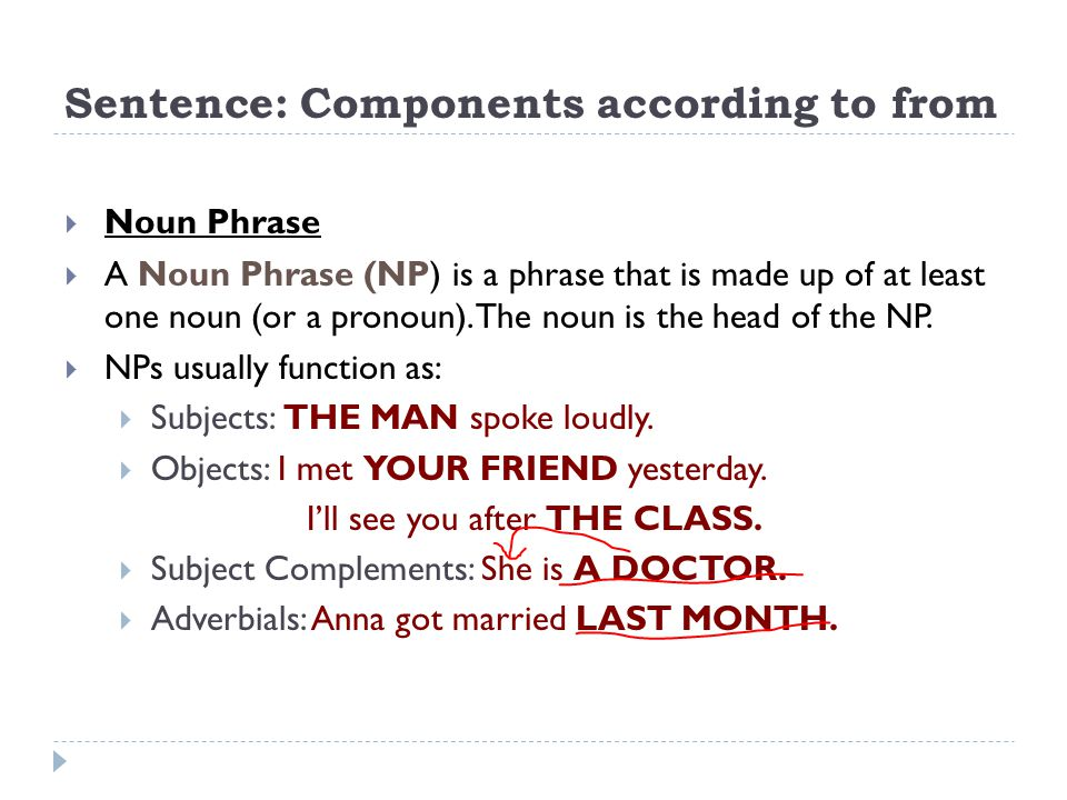Sentence: Components according to from