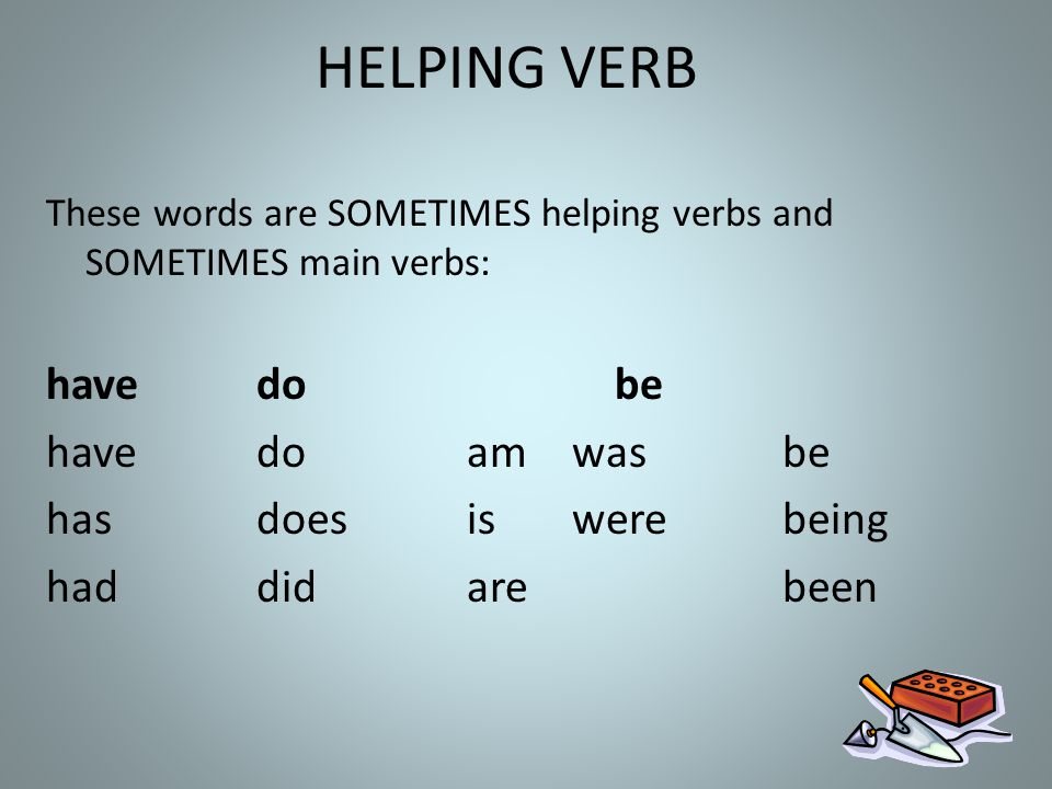 HELPING VERB have do be have do am was be has does is were being