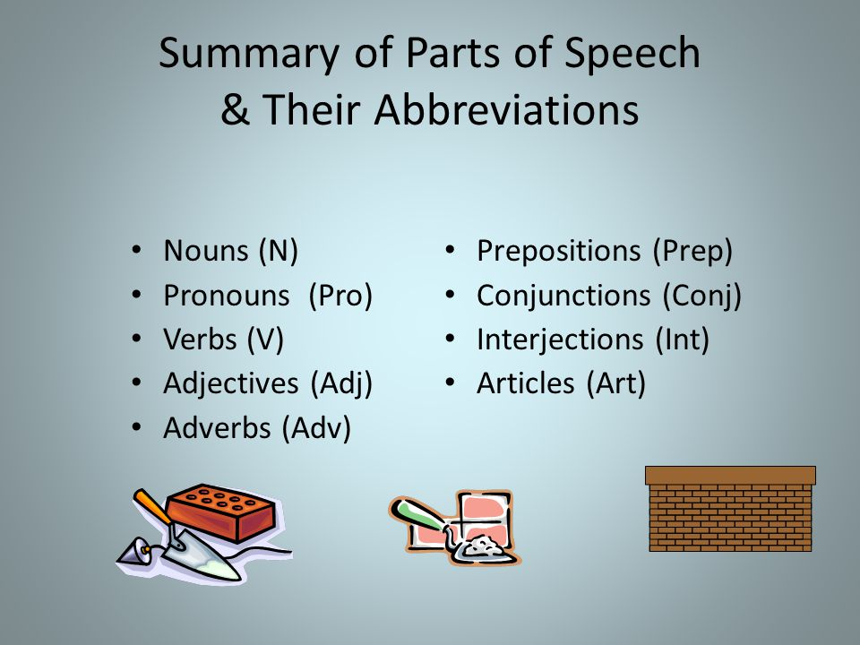 Summary of Parts of Speech & Their Abbreviations