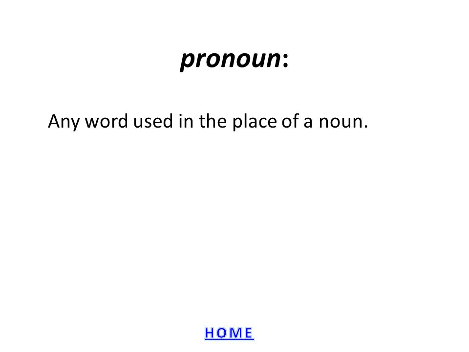 Any word used in the place of a noun.