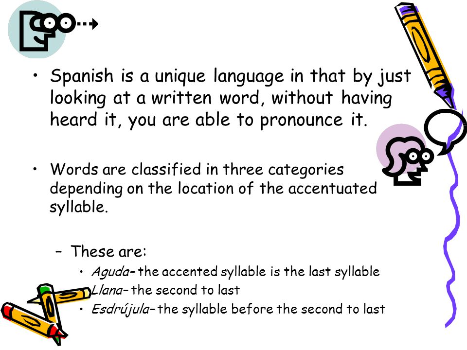 Spanish accents and stress syllables - ppt download