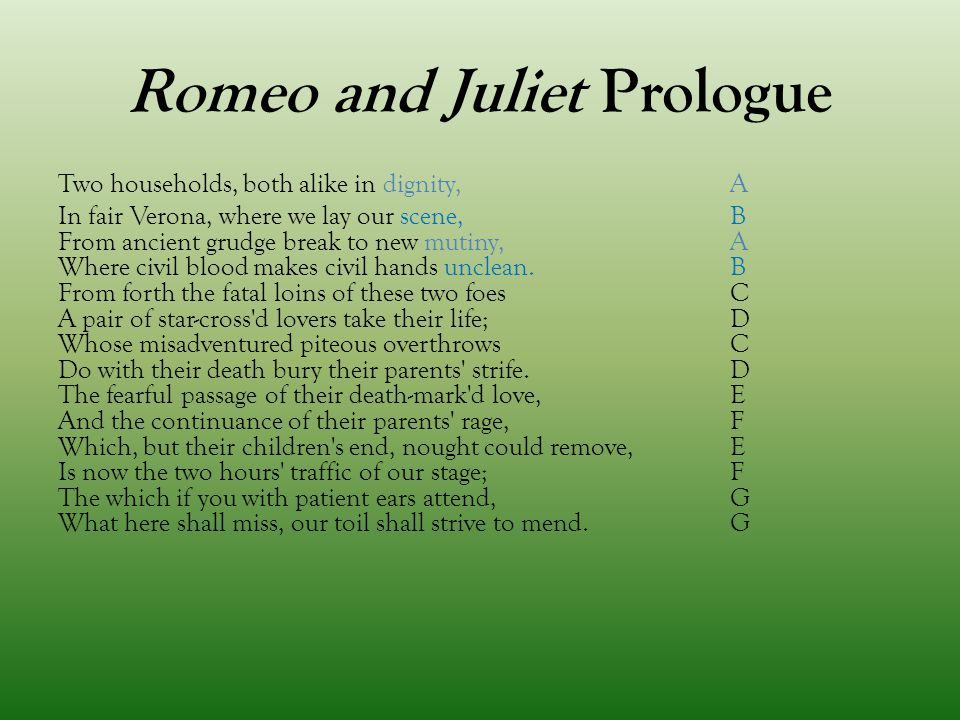 "romeo and juliet prologue About ""romeo and juliet act 1 prologue"" this is the introduction to william shakespeare's romeo and juliet , written in the form of a sonnet shakespeare's play was based on the tragicall historye of romeus and juliet , a 1562 narrative poem by arthur brooke, which was actually the inspiration for many plays during the time."