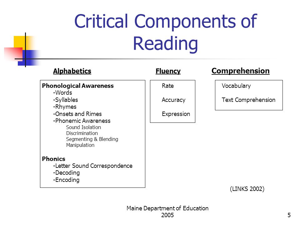 Cognitive Elements of Reading