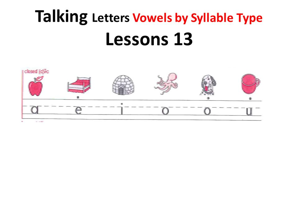 Talking Letters Vowels by Syllable Type Lessons 13