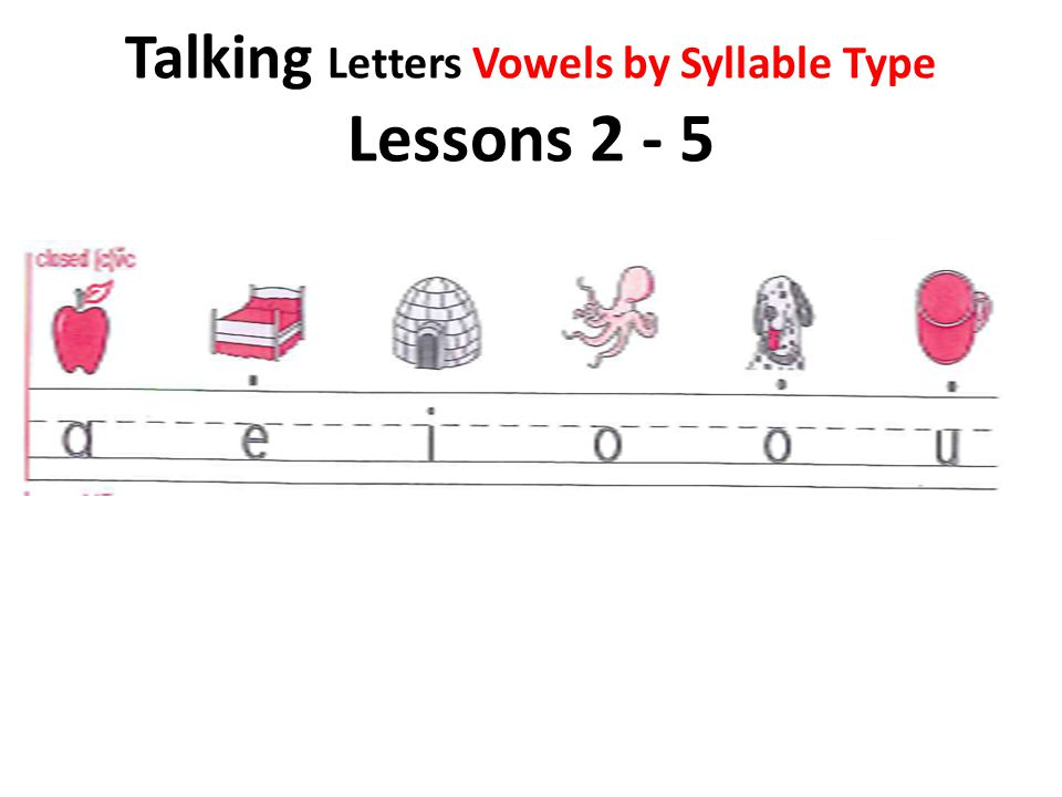 Talking Letters Vowels by Syllable Type Lessons 2 - 5