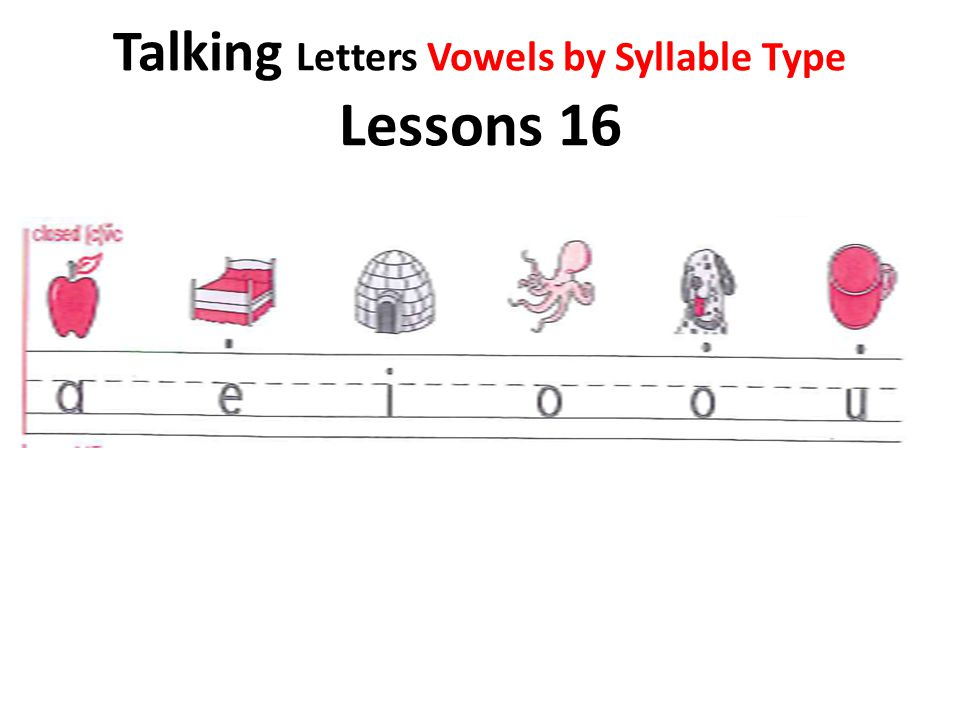 Talking Letters Vowels by Syllable Type Lessons 16