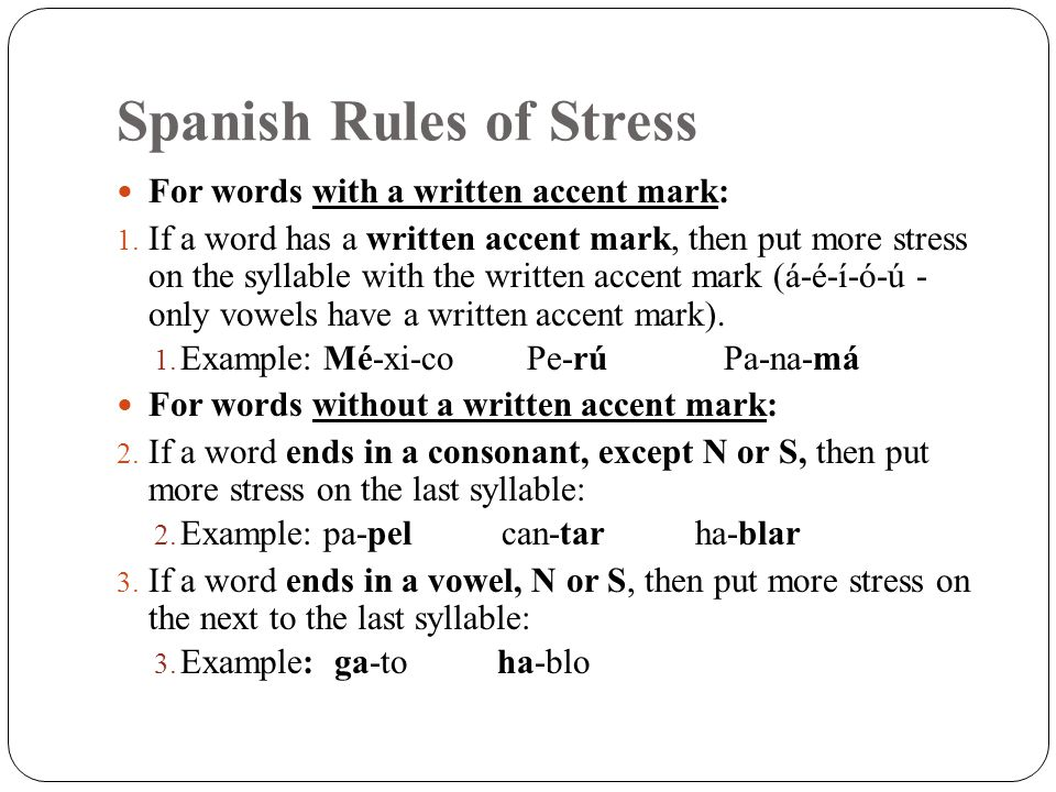 mark the stress in the following word Word syllable stress in multi-syllable words, the stress falls on one of the syllables while the other syllables tend to be spoken quickly this leads to sounds that are not clear (muted) on unstressed syllables.