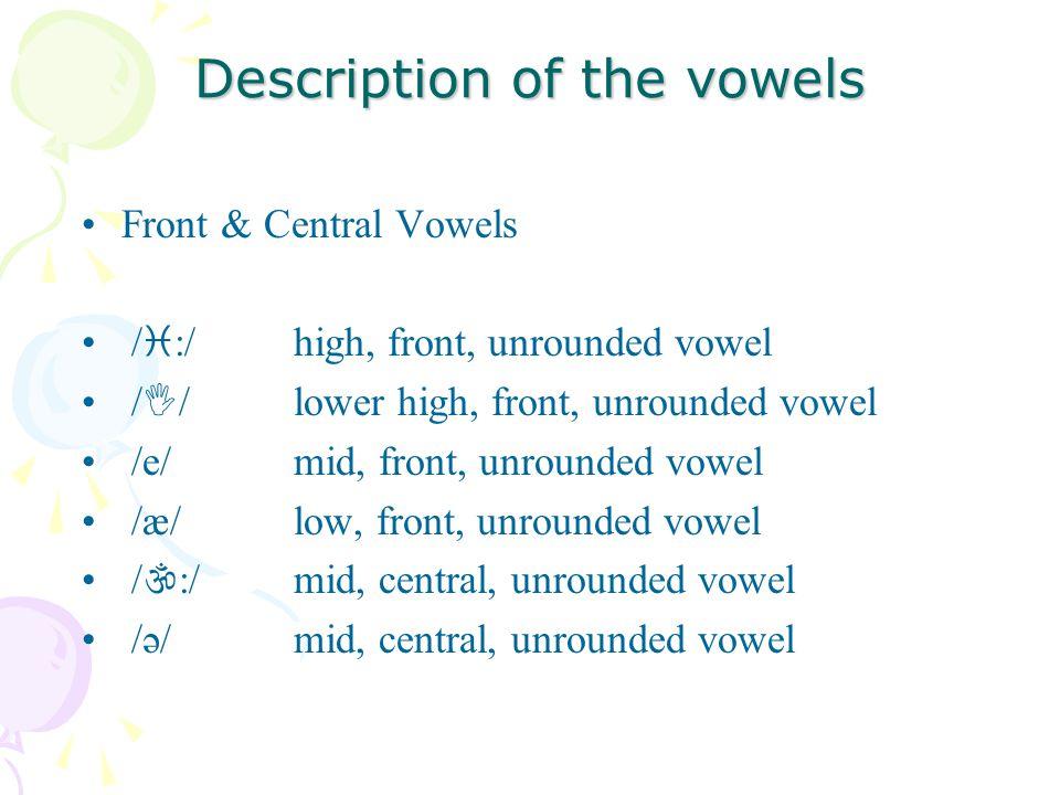 Description of the vowels