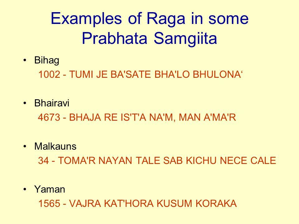 Examples of Raga in some Prabhata Samgiita