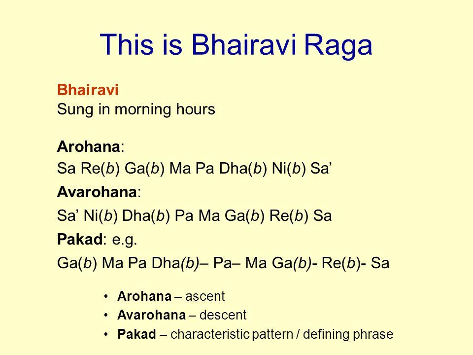 This is Bhairavi Raga Bhairavi Sung in morning hours Arohana: