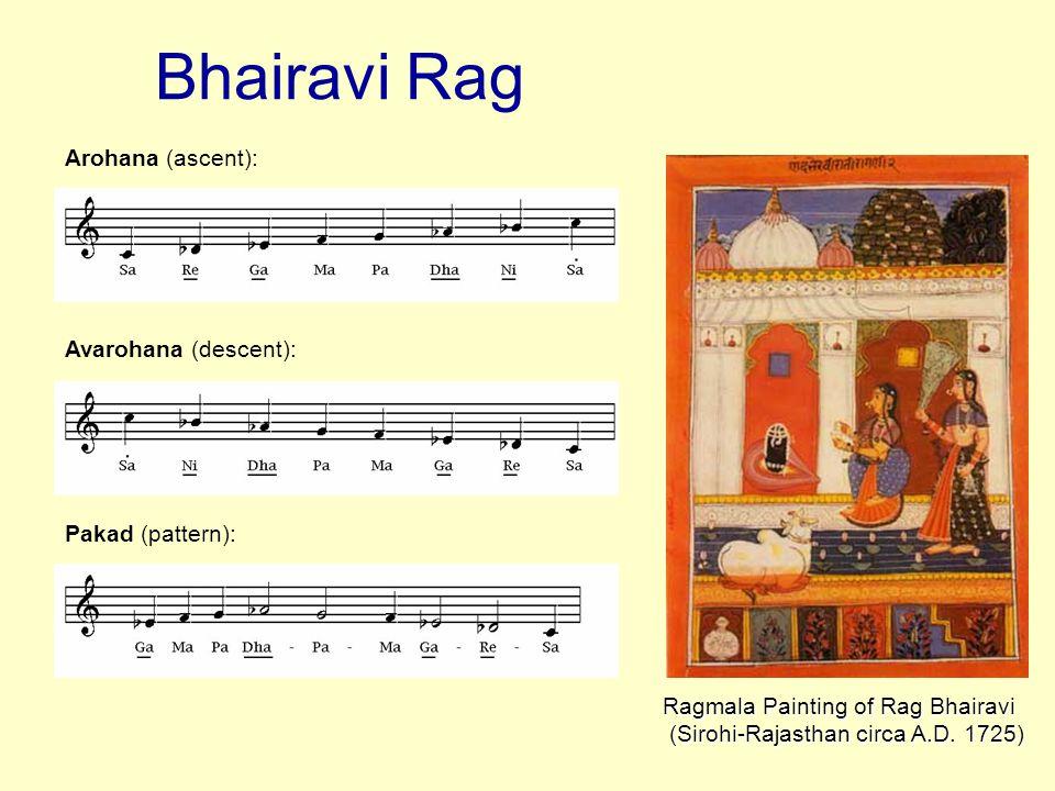 Bhairavi Rag Arohana (ascent): Avarohana (descent): Pakad (pattern):