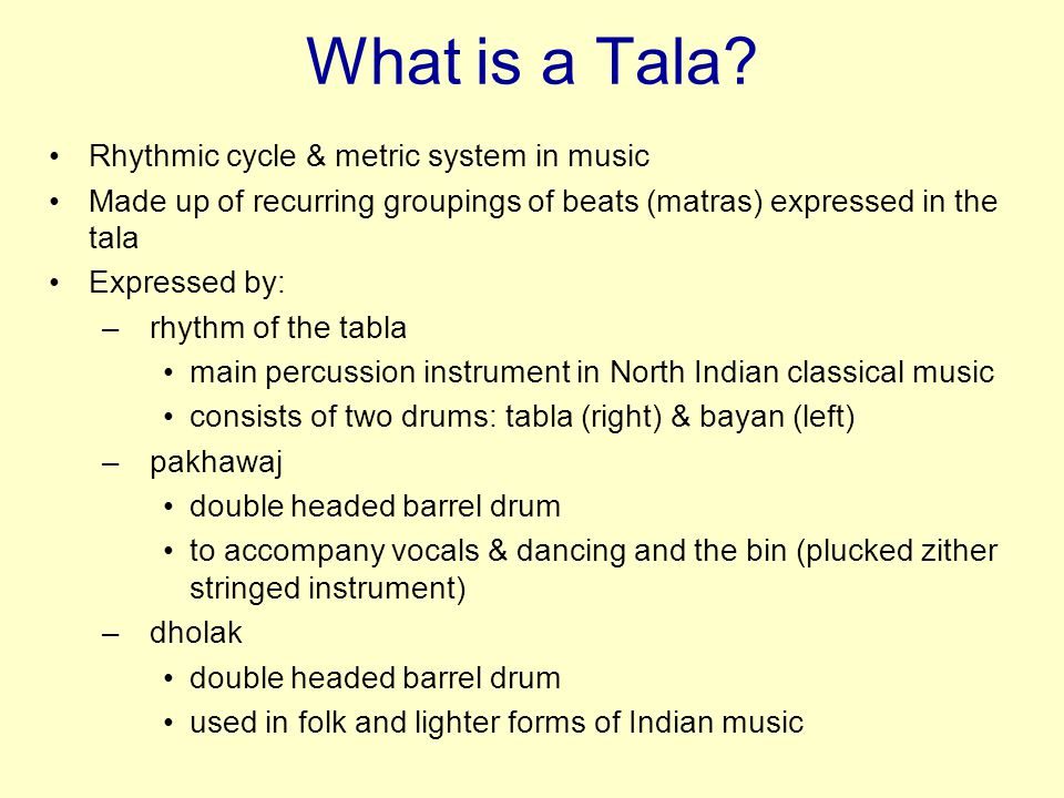 What is a Tala Rhythmic cycle & metric system in music