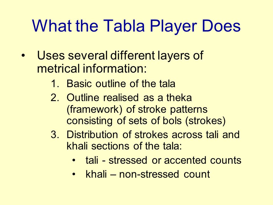 What the Tabla Player Does