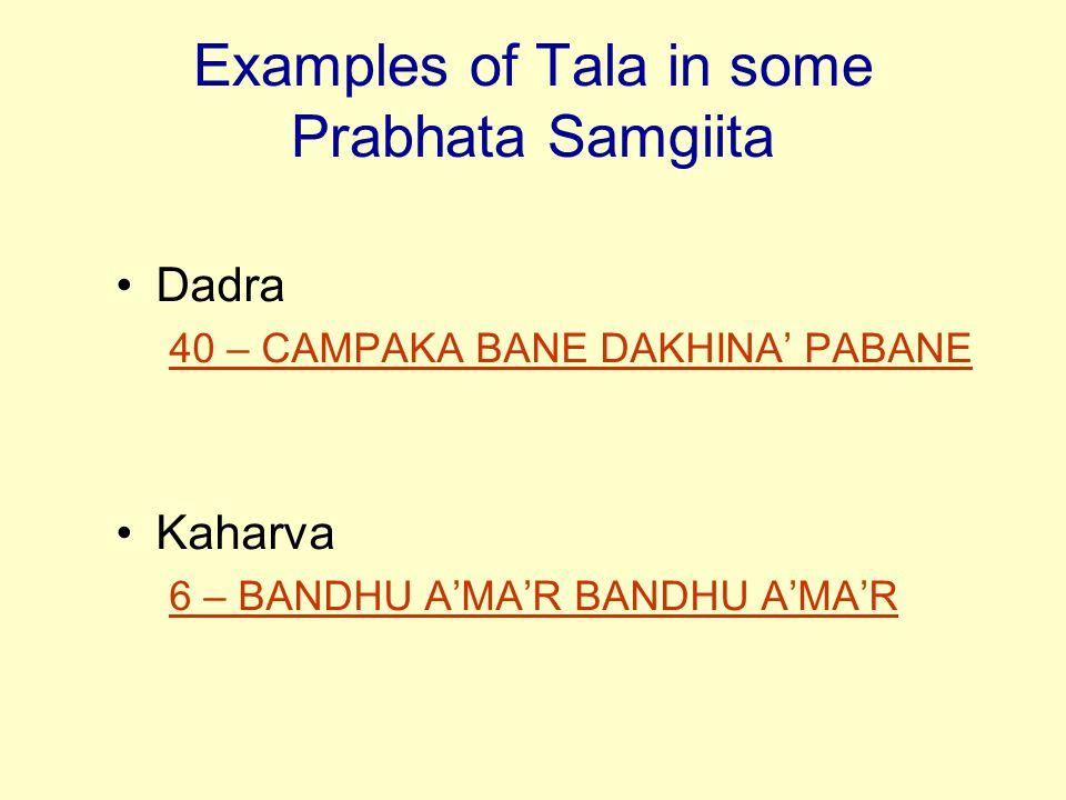 Examples of Tala in some Prabhata Samgiita