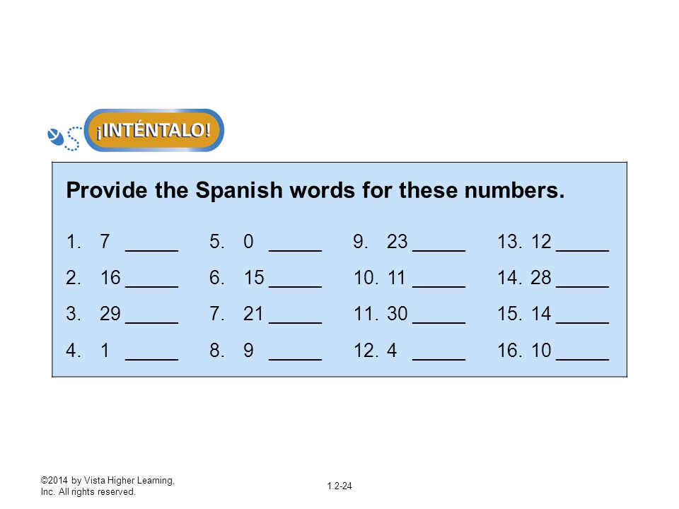 Provide the Spanish words for these numbers.