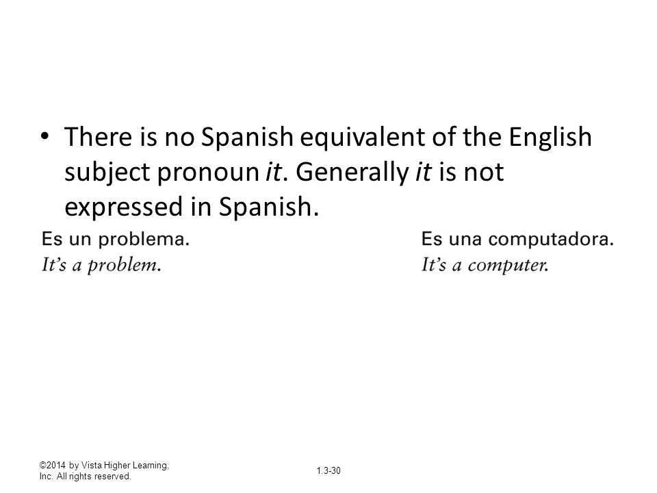 There is no Spanish equivalent of the English subject pronoun it