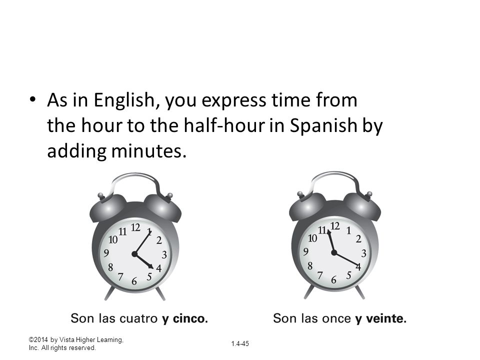 As in English, you express time from the hour to the half-hour in Spanish by adding minutes.