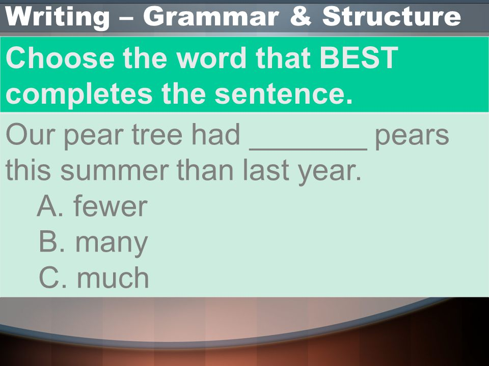 Writing – Grammar & Structure