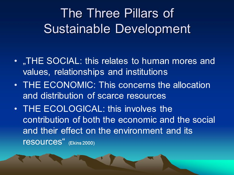 three pillars of sustainable development Sustainable development is the international community's most urgent priority, and the core aim of the post-2015 development agenda ecosoc operates at the centre of the un system's work on.