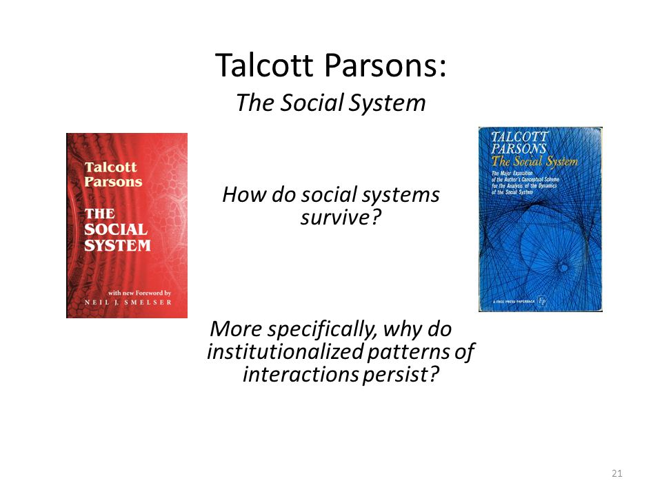 talcott parson s functional imperatives The social system in the history of talcott parsons holds a very special place his the structure of social action (1937), was a pioneer work that has influenced many social structural-functional level of analysis, which is quite different from that of pareto, and.