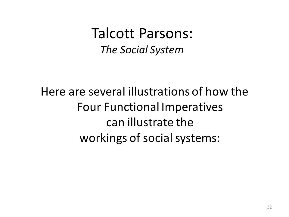 talcott parsons agil model Reading talcott parsons works, i found it almost difficult to reflect on  merton  additionally concocted a model classifying where individuals fit.