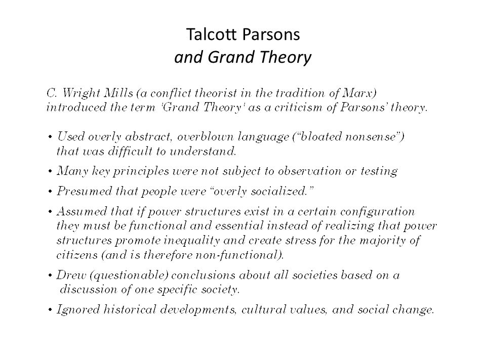 the concept of structural functionalism in talcott parsons grand theory Functionalism and parsons functionalist theory and the sociology of talcott parsons must this is the origin of the structure part of the structural.
