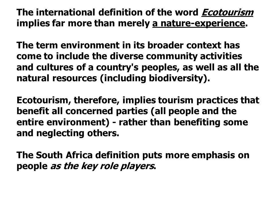 eco tourism essay Spotlight on sustainability: the importance of ecotourism court whelan, phd july 26, 2013 9 meet court whelan, one of the travel industry's foremost experts on.