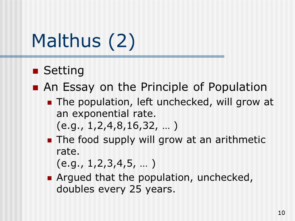 malthus an essay on the principle of population