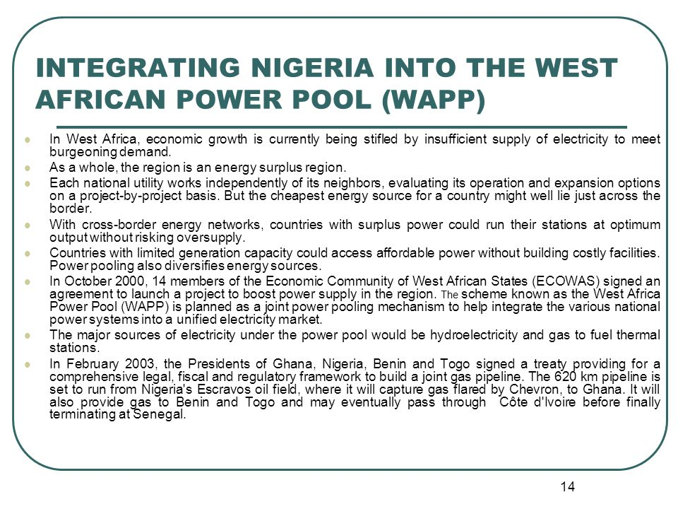 A presentation to the nerc naruc workshop by ppt video online integrating nigeria into the west african power pool wapp sciox Images