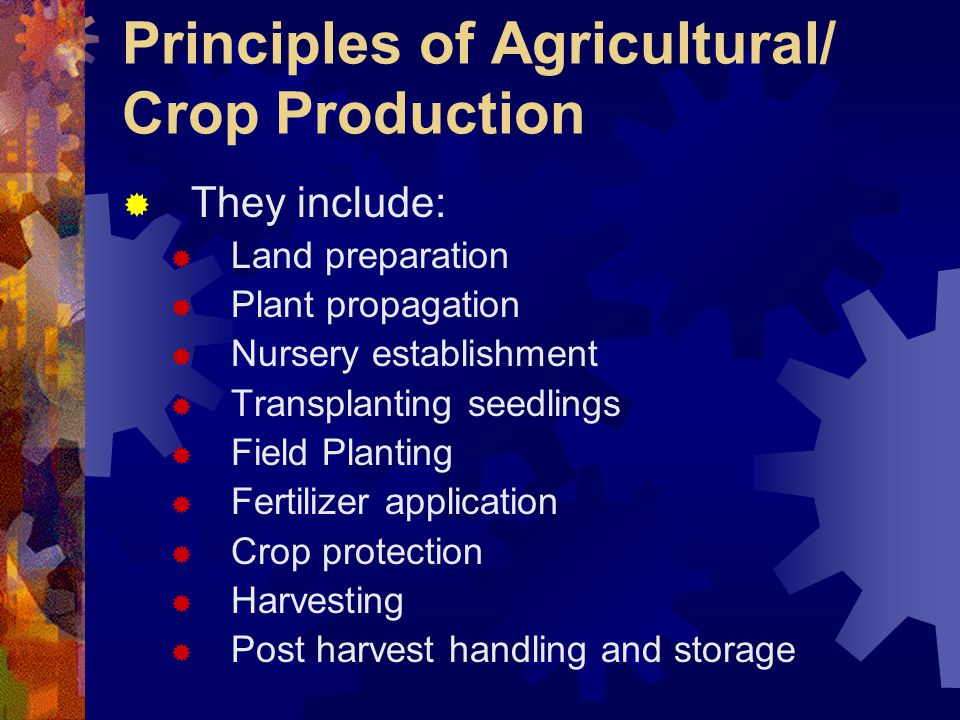 Principles of Agricultural/ Crop Production
