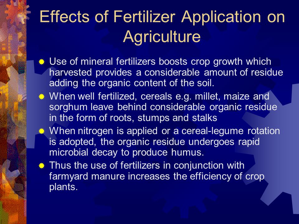 Effects of Fertilizer Application on Agriculture