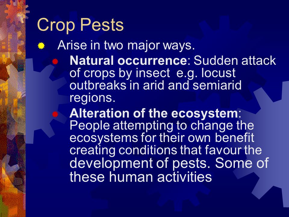 Crop Pests Arise in two major ways.