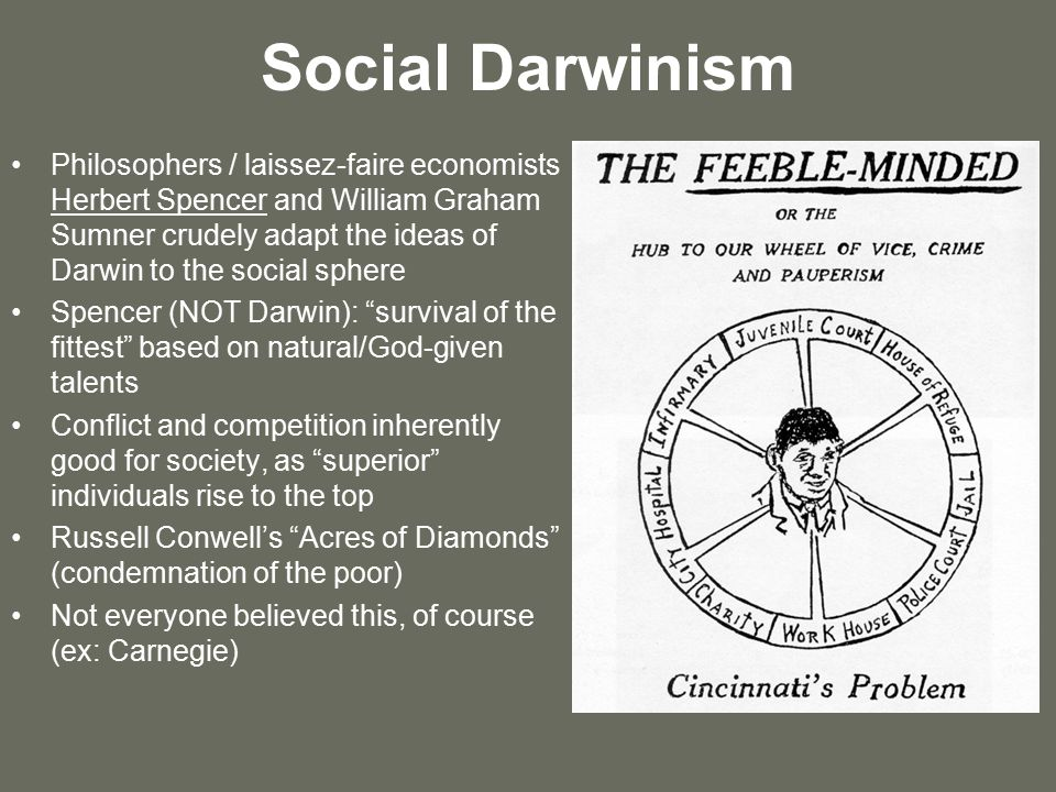 sumner on social darwinism He did not, however, fully subscribe to social darwinism, eventually abandoning  it entirely sumner believed, unlike spencer, that human.