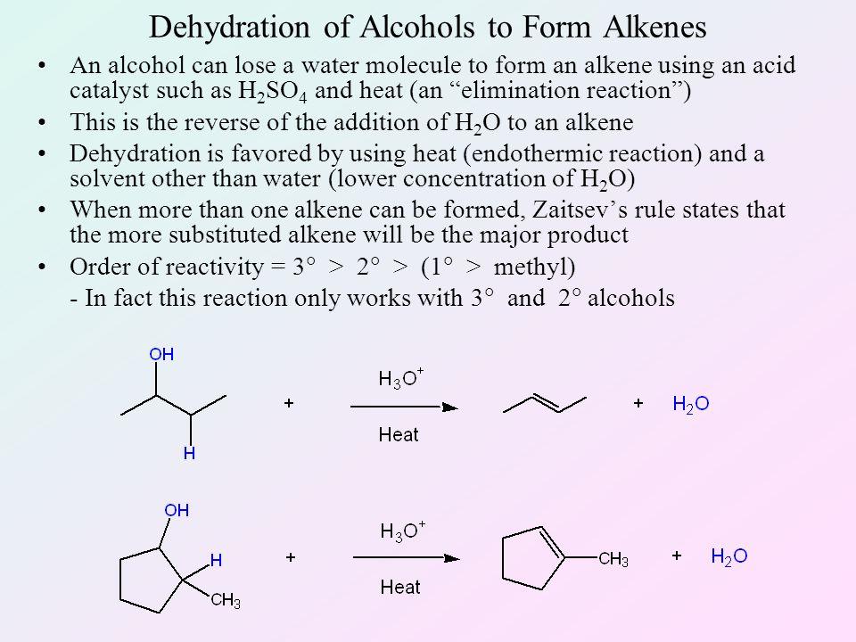 formation of an alkene by alcohol Dehydration of alcohols reaction type: alcohols typically undergo a 1,2-elimination reactions to generate an alkene and alcohol relative reactivity.