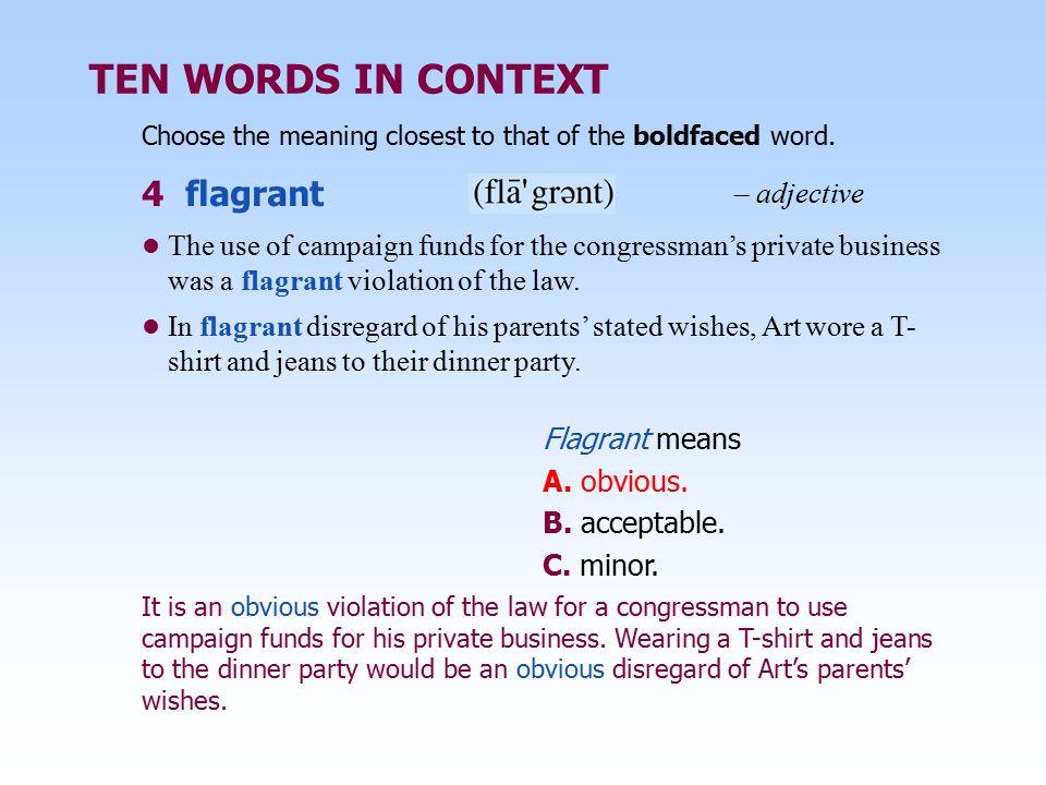 TEN WORDS IN CONTEXT 4 Flagrant U2013 Adjective