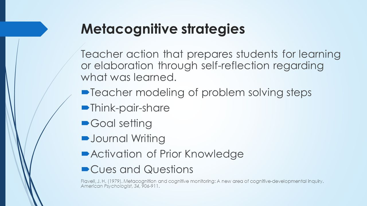 Writing a metacognitive reflection