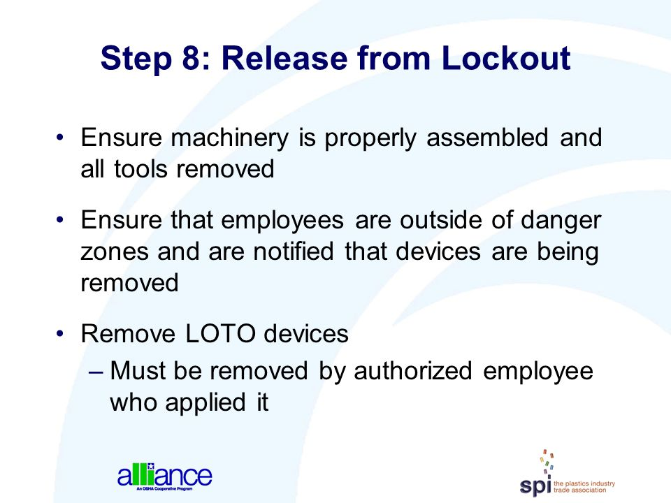 Step 8: Release from Lockout