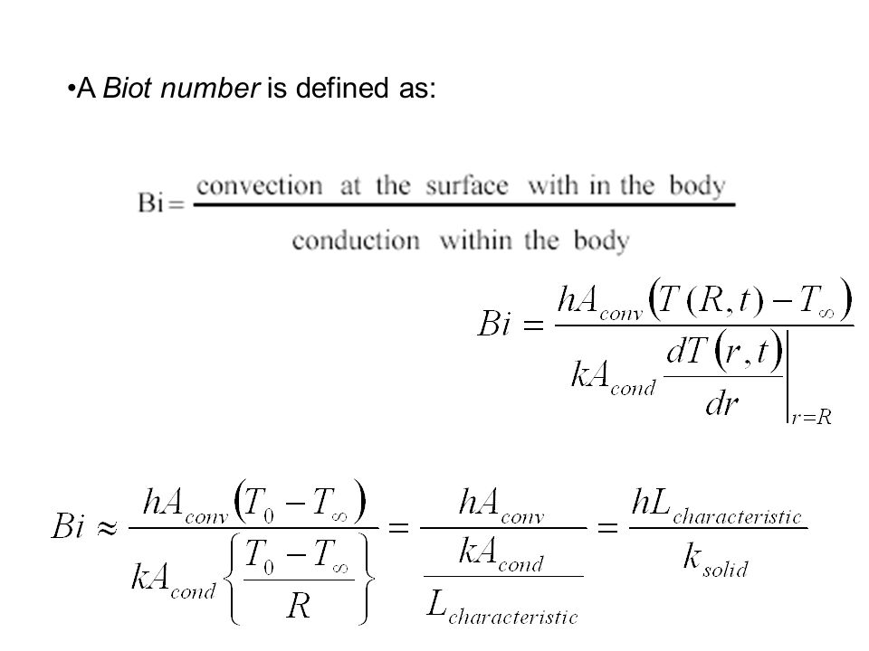 A Biot number is defined as: