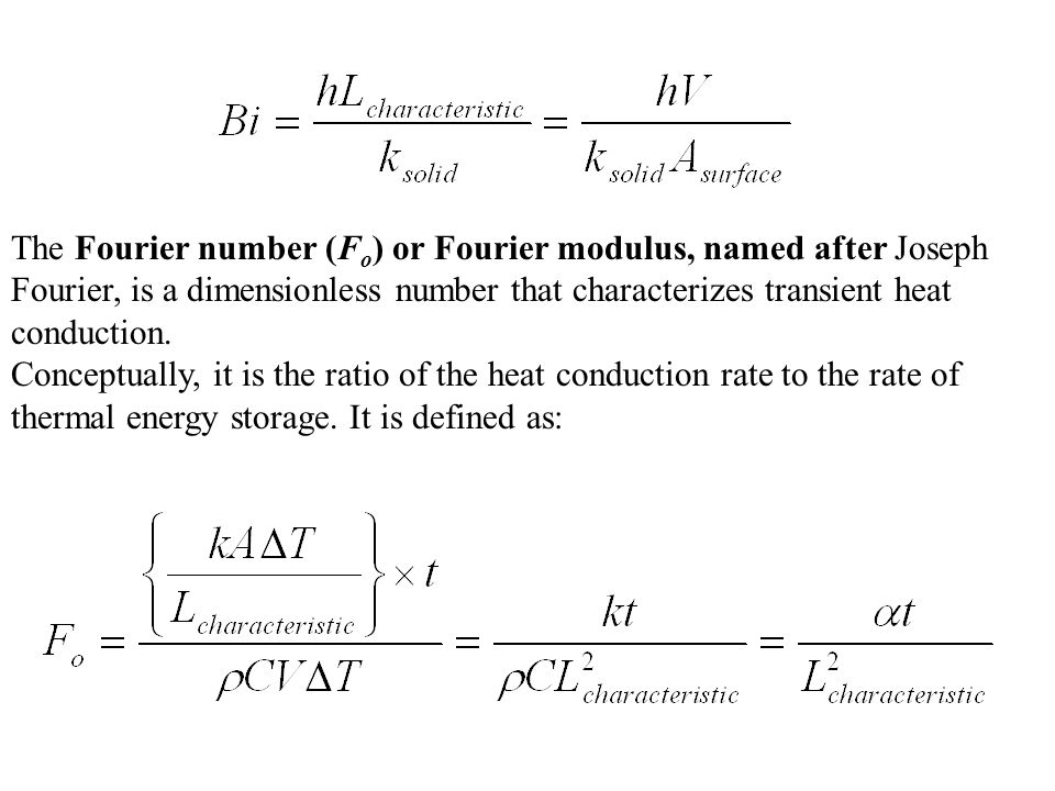The Fourier number (Fo) or Fourier modulus, named after Joseph Fourier, is a dimensionless number that characterizes transient heat conduction.