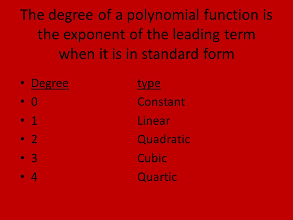 leading term of a polynomial function