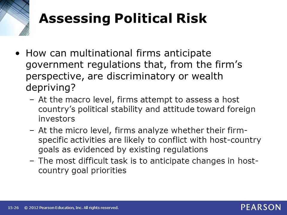 macro and micro political risk We use this information to develop a macro political risk assessment framework  according to this framework, the sources of political risk are internal and.