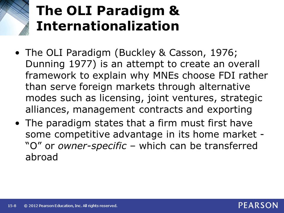 oli framework Get this from a library international business and the eclectic paradigm : developing the oli framework [john cantwell rajneesh narula.
