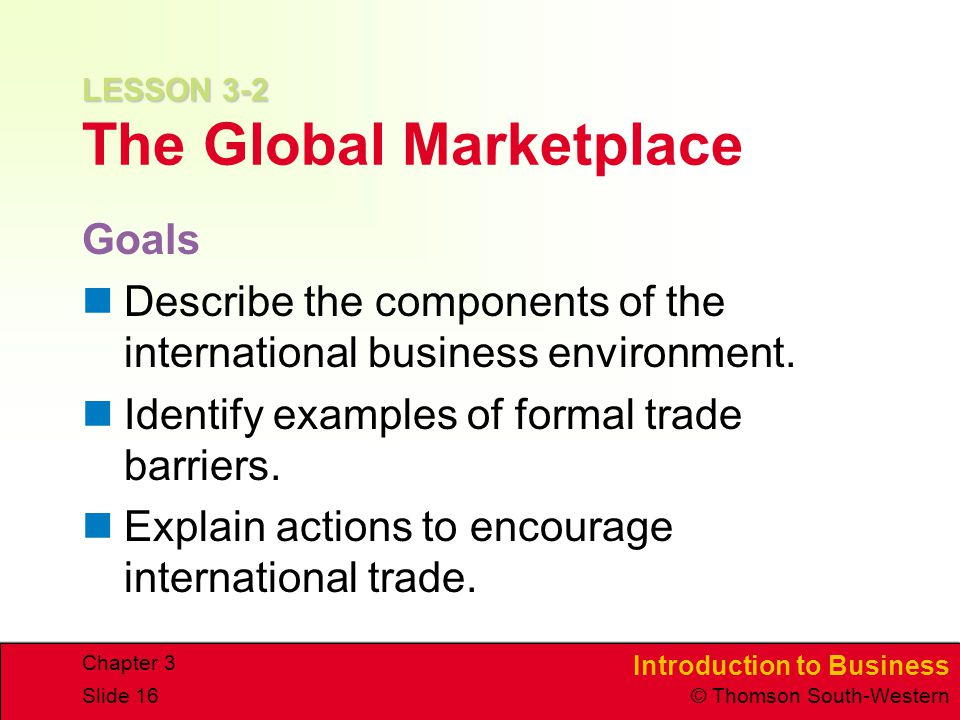 LESSON 3-2 The Global Marketplace