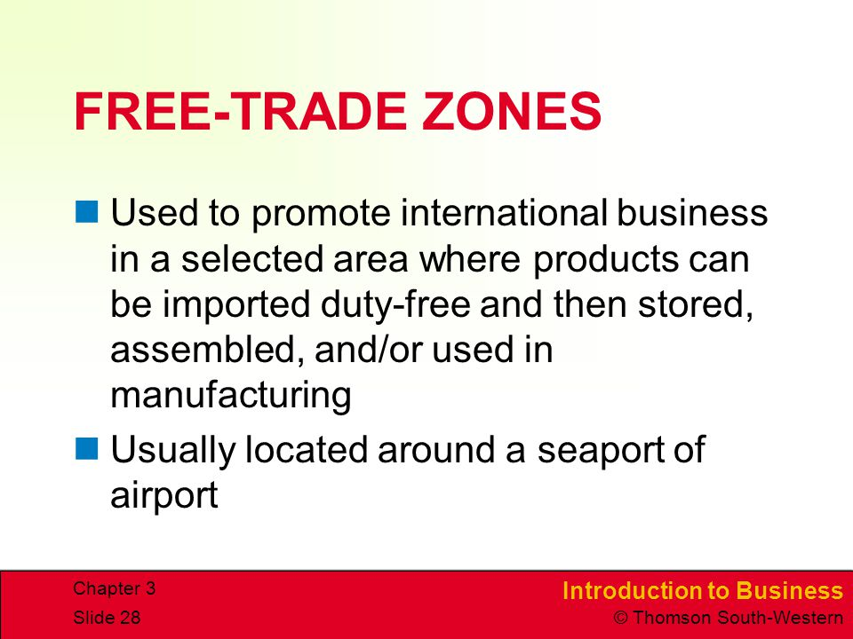 CHAPTER 3 4/15/2017. FREE-TRADE ZONES.