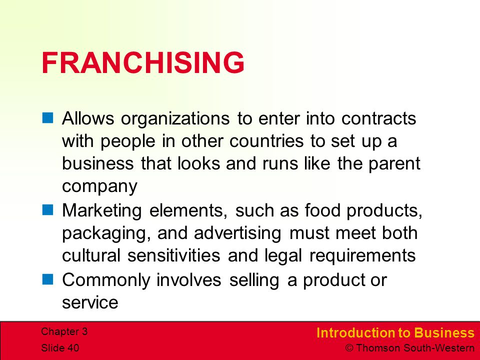 CHAPTER 3 4/15/2017. FRANCHISING.