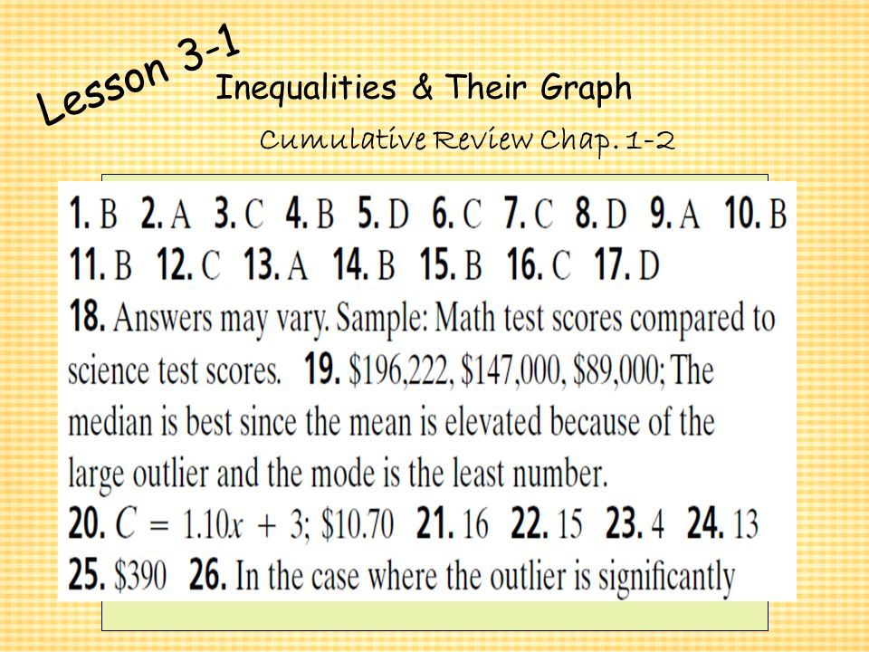 Algebra 1 Chapter 3 Inequalities And Their Graphs